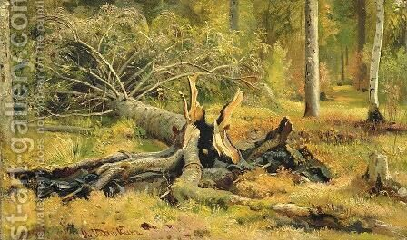 Fallen tree. Siverskaya 2 by Ivan Shishkin - Reproduction Oil Painting