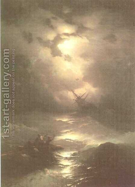 Tempest on the Northern sea by Ivan Konstantinovich Aivazovsky - Reproduction Oil Painting