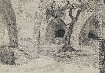 Out-building of the Armenian Convent, Jerusalem, illustration from 'The Life of Our Lord Jesus Christ' by James Jacques Joseph Tissot - Reproduction Oil Painting