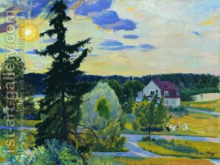 Evening Landscape by Boris Kustodiev - Reproduction Oil Painting
