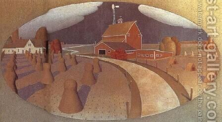 Farm View by Grant Wood - Reproduction Oil Painting