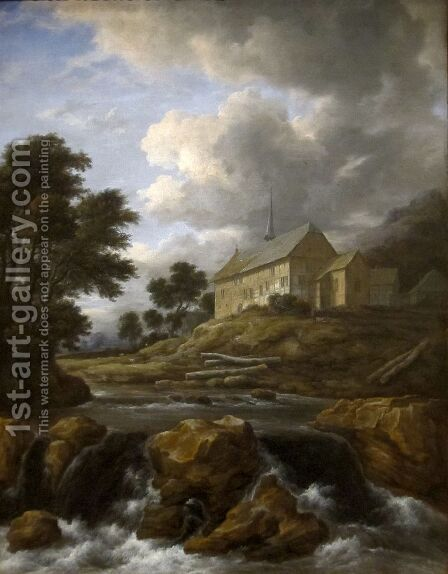 Landscape with a Church by a Torrent by Jacob Van Ruisdael - Reproduction Oil Painting
