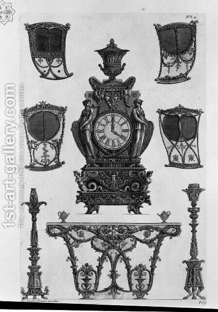 Four sides of the sedan, a clock, two candlesticks, table wall by Giovanni Battista Piranesi - Reproduction Oil Painting