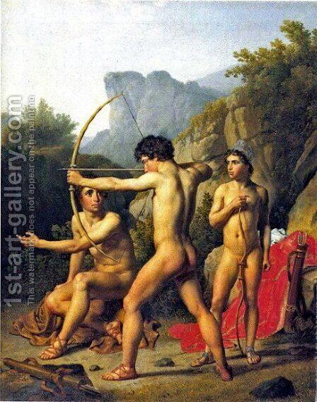Three Spartan Boys by Christoffer Wilhelm Eckersberg - Reproduction Oil Painting