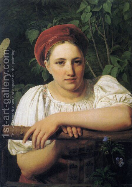 A Peasant girl from Tver by Aleksei Gavrilovich Venetsianov - Reproduction Oil Painting