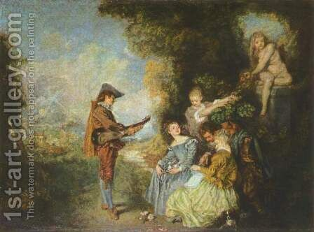 The Lesson of Love by Jean-Antoine Watteau - Reproduction Oil Painting