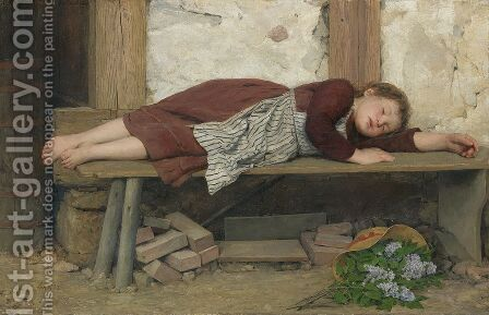 Sleeping girl on a wooden bench by Albert Anker - Reproduction Oil Painting
