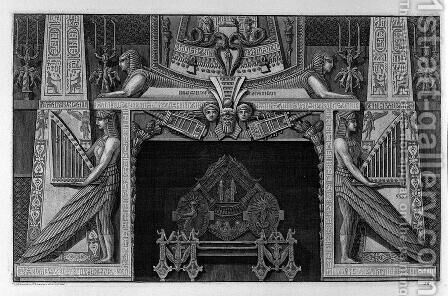 Egyptian-style fireplace surmounted by two sphinxes and flanked by two great figures of harpists, a rich interior wing by Giovanni Battista Piranesi - Reproduction Oil Painting