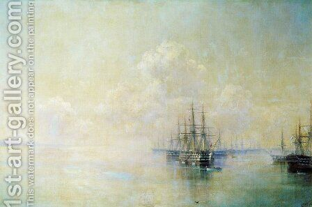Black Sea Fleet squadron before going on the raid Sevastopol by Ivan Konstantinovich Aivazovsky - Reproduction Oil Painting