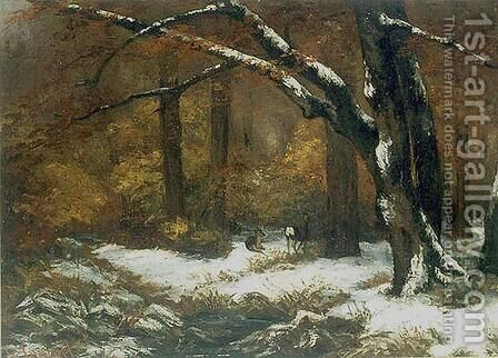 Deer's Shelter in Winter by Gustave Courbet - Reproduction Oil Painting