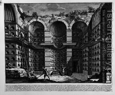 The Roman antiquities, t. 3, Plate XXVI. View in perspective of a previous goal of the burial chamber (Drawing by Antonio Buonamici, inc. By Girolamo Rossi). by Giovanni Battista Piranesi - Reproduction Oil Painting
