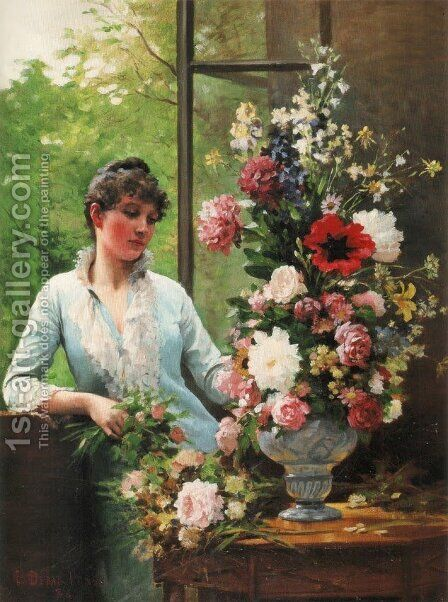 Preparing the flower arrangement by Edouard Bernard Debat-Ponsan - Reproduction Oil Painting