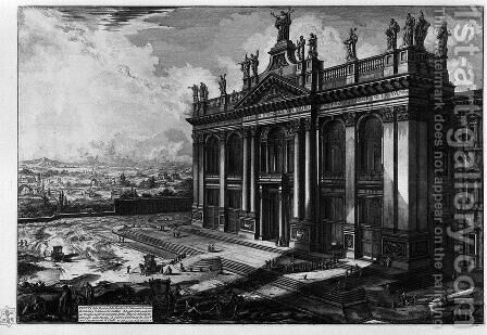 Interior view of the Basilica of St. John Lateran by Giovanni Battista Piranesi - Reproduction Oil Painting