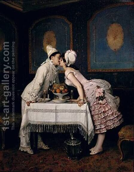 The Kiss by Auguste Toulmouche - Reproduction Oil Painting