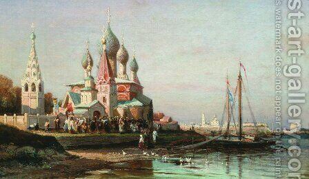 Easter procession in Yaroslavl by Aleksei Petrovich Bogolyubov - Reproduction Oil Painting