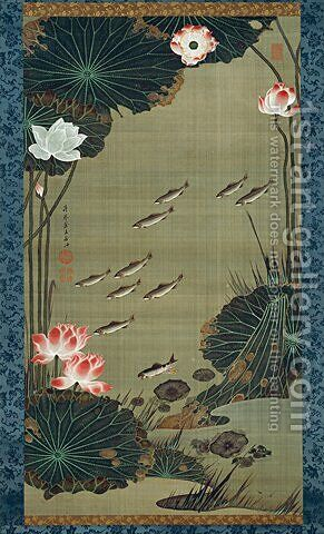 Lotus Pond and Fish by Ito Jakuchu - Reproduction Oil Painting