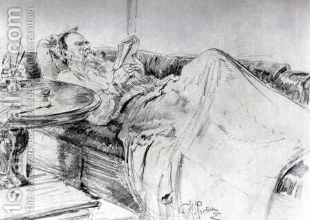 Lev Tolstoy reading by Ilya Efimovich Efimovich Repin - Reproduction Oil Painting
