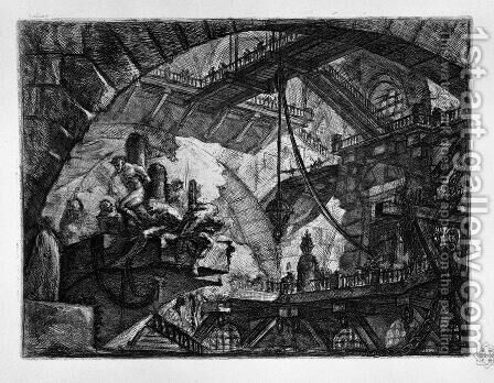 Prisoners on a Projecting Platform by Giovanni Battista Piranesi - Reproduction Oil Painting