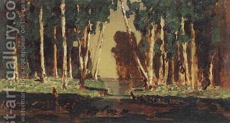 A Birch Grove 9 by Arkhip Ivanovich Kuindzhi - Reproduction Oil Painting