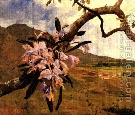 Flores de mayo y paisaje by Arturo Michelena - Reproduction Oil Painting