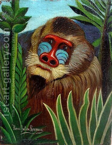 Mandrill in the Jungle by Henri Julien Rousseau - Reproduction Oil Painting
