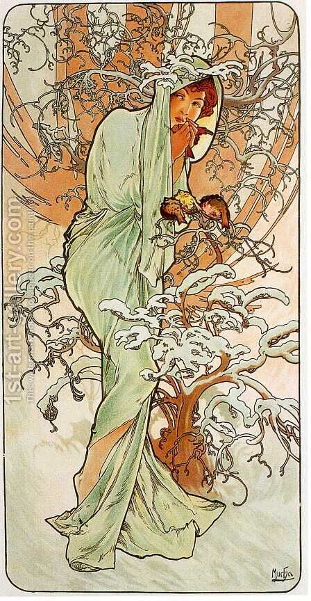 Winter 2 by Alphonse Maria Mucha - Reproduction Oil Painting