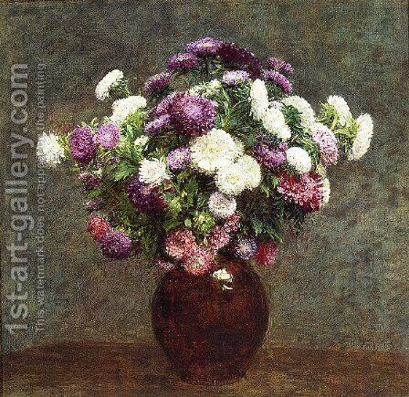 Asters in a Vase by Ignace Henri Jean Fantin-Latour - Reproduction Oil Painting