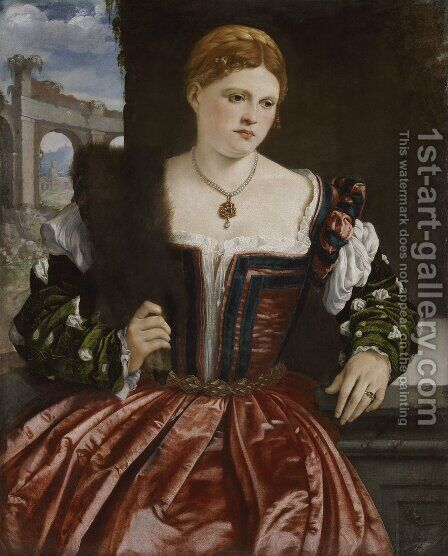 Portrait of a Young Lady by Alessandro Bonvicino (Moretto da Brescia) - Reproduction Oil Painting