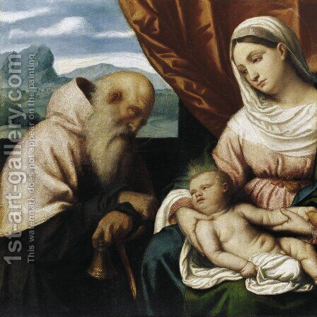 Maria with the child and the St. Anthony by Alessandro Bonvicino (Moretto da Brescia) - Reproduction Oil Painting