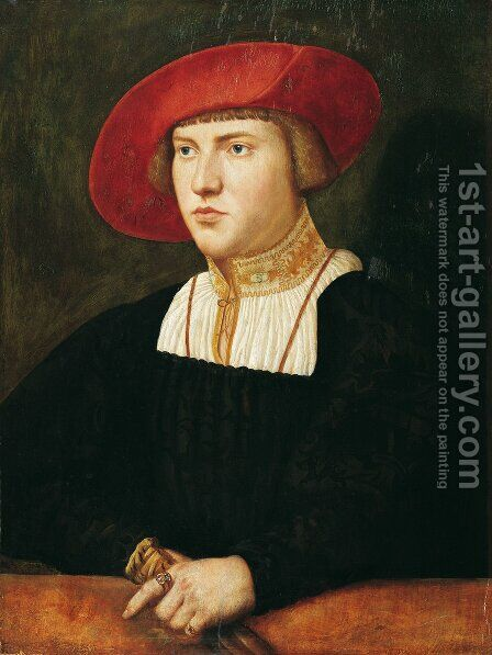 Half-length portrait of a young man with beret, 1530 by Christoph Amberger - Reproduction Oil Painting