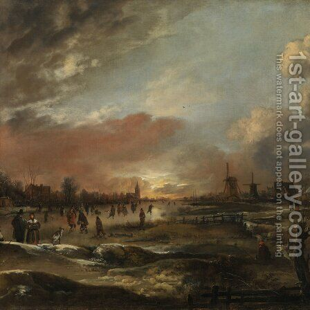 Big Winter landscape with ice pleasure at sunset by Aert van der Neer - Reproduction Oil Painting