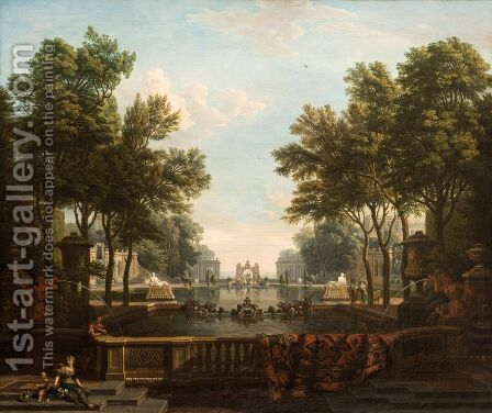 Palace garden with ornamental water by Isaac de Moucheron - Reproduction Oil Painting