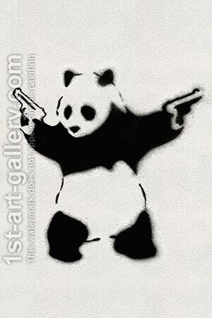 Panda With Guns by Banksy - Reproduction Oil Painting