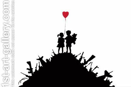 Kids On Guns Hill by Banksy - Reproduction Oil Painting
