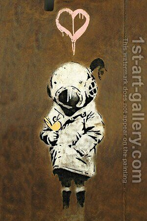 Space Girl and Bird by Banksy - Reproduction Oil Painting