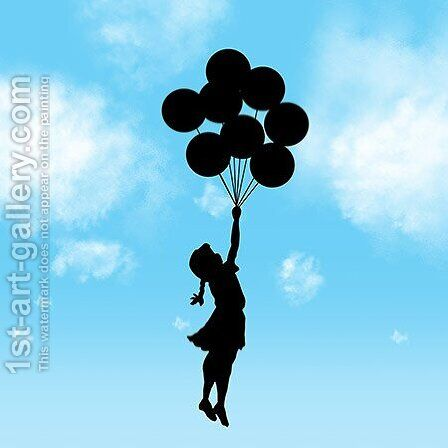 Balloon Girl Flying (Blue) by Banksy - Reproduction Oil Painting
