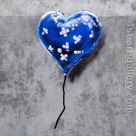 Bandage Heart Blue by Banksy - Reproduction Oil Painting