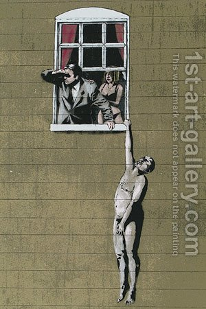 Banksy Naked Man Hanging from Window by Banksy - Reproduction Oil Painting