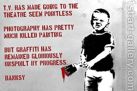 Boy Writing on The Wall with Paint Brush by Banksy - Reproduction Oil Painting