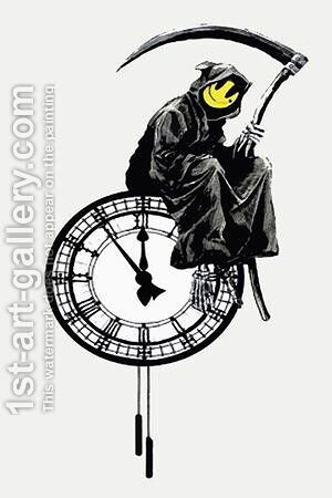 Smiley Grim Reaper Death On A Clock by Banksy - Reproduction Oil Painting