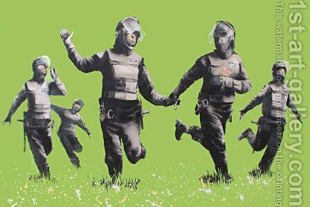 Riot Police in the Field, Peace by Banksy - Reproduction Oil Painting