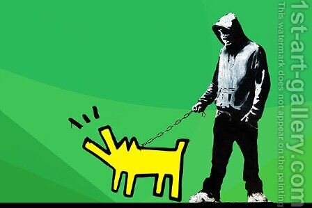 Choose Your Weapon Keith Haring Dog Green ll by Banksy - Reproduction Oil Painting