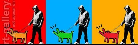Choose Your Weapon Keith Haring Dog II by Banksy - Reproduction Oil Painting