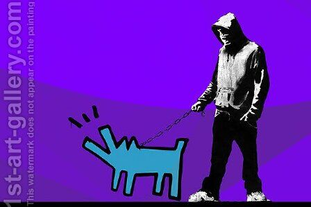 Choose Your Weapon Keith Haring Dog Purple ll by Banksy - Reproduction Oil Painting
