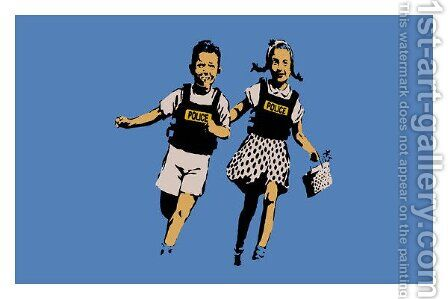 Police Kids Jack And Jill by Banksy - Reproduction Oil Painting