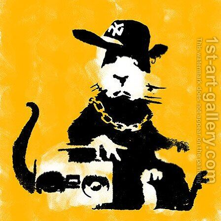Ganster Rat (Yellow) by Banksy - Reproduction Oil Painting