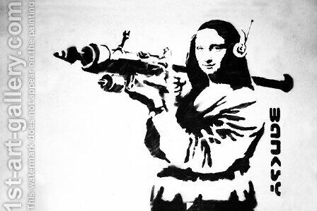 Mona Lisa With Bazooka Rocket by Banksy - Reproduction Oil Painting