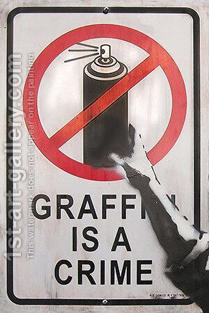 Grafitti is a Crime by Banksy - Reproduction Oil Painting