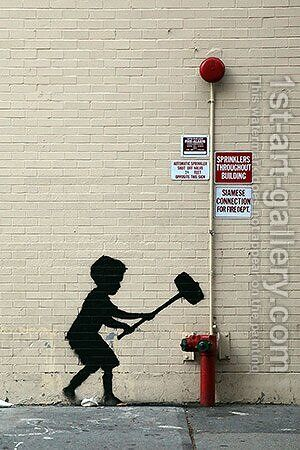Hammer Boy by Banksy - Reproduction Oil Painting