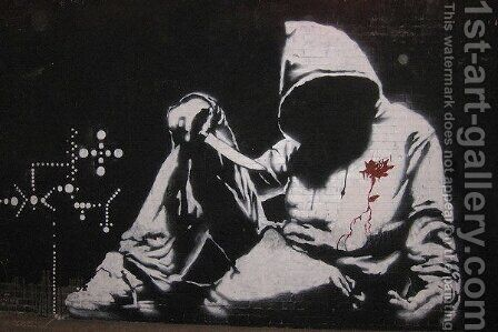 Hooded Man With Knife by Banksy - Reproduction Oil Painting